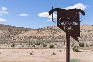California Trail sign, in the Nevada desert