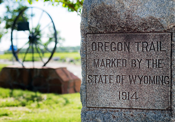 Oregon Trail marker, in Wyoming